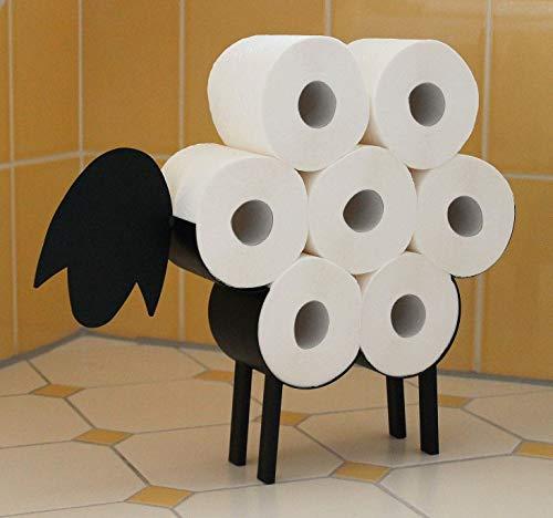 DanDiBo Toilettenpapierhalter Schwarz Metall Schaf WC Rollenhalter Freistehend WC Papierhalter Toilettenrollenhalter