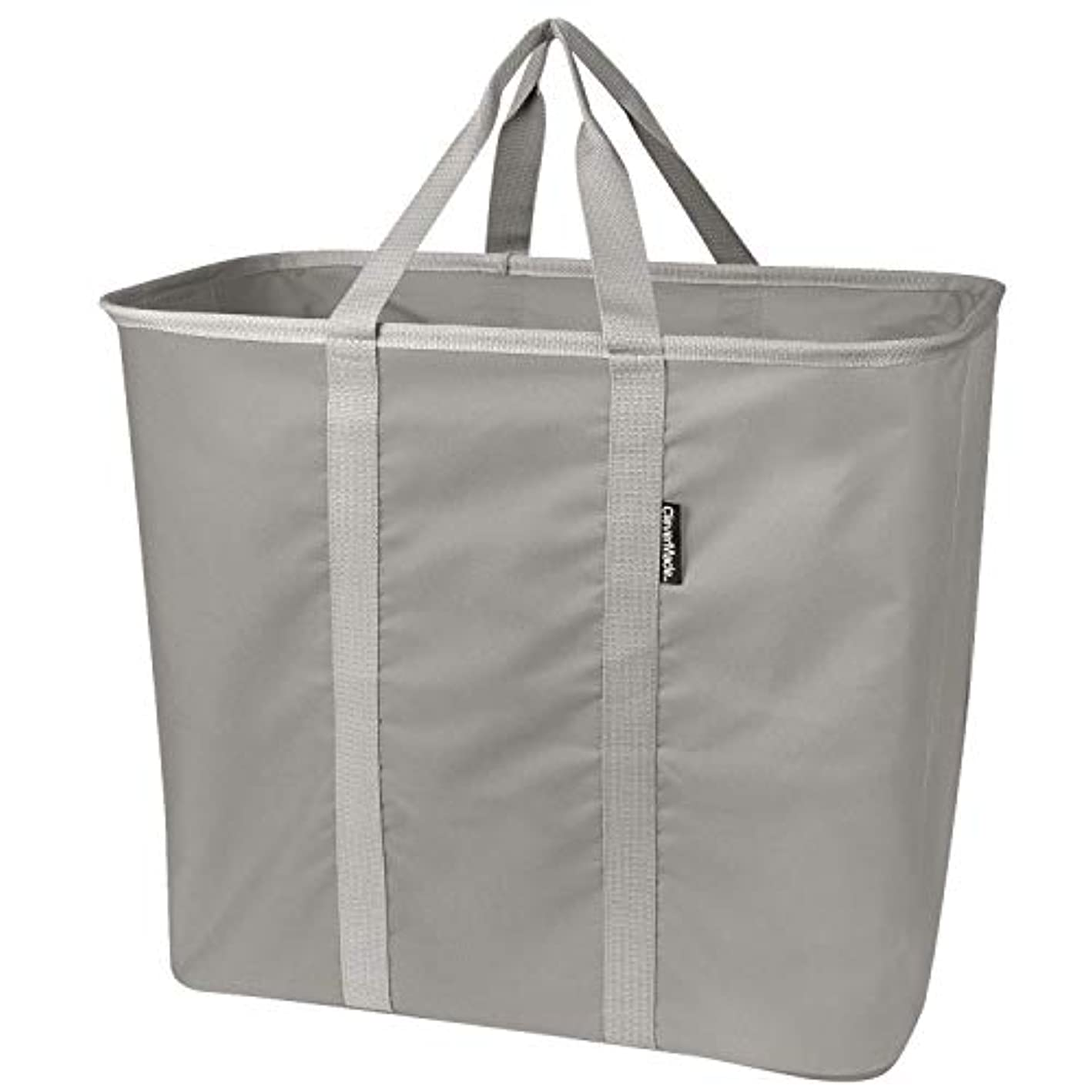 CleverMade Collapsible Laundry Tote, Large Foldable Clothes Hamper Bag, LaundryCaddy CarryAll XL Pop Up Storage Basket with Handles, Grey