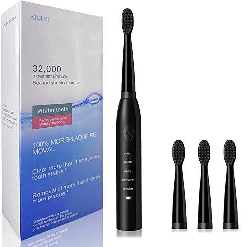 Elektrische Zahnbürste, AIGUO Elektrische Schallzahnbürste, 5 Modi Schutz des Zahnfleisches und Zahnaufhellung, 4 Aufsteckbürsten 2 Minuten Timer, Putzen Sie Ihre Zähne wie beim Zahnarzt, USB.