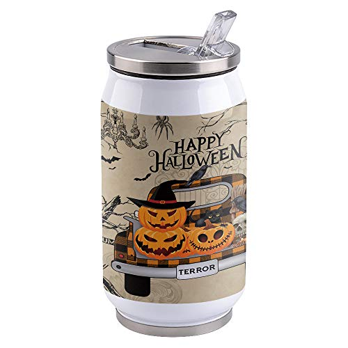 15oz Stainless Steel Liner Vacuum Tumbler Halloween Pumpkin Truck Cat Thermal Insulation Vacuum Cup with Straw & Slider Lid Vintage Wood Portable Cola Can for Travel, Sports, Camping