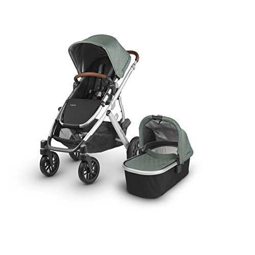 2018 UPPAbaby VISTA Stroller, Emmett (Green Melange/Silver/Saddle Leather)