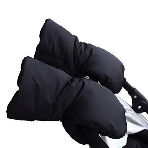 Kinderwagen Handschuhe Handwärmer mit Warme Fleece Wasserfest Atmungsaktiv und Windfest für Kinderwagen Kinderwagenmuff (Schwarz)