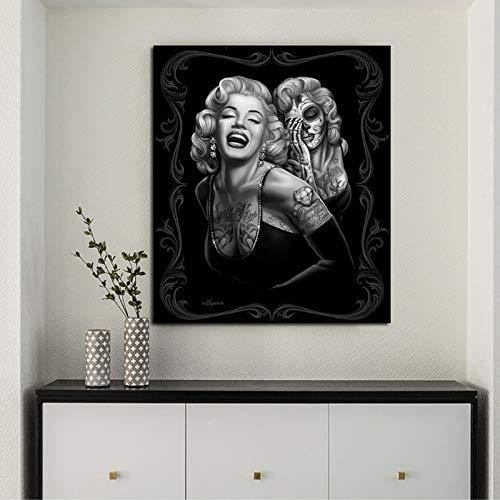 JNZART Porträt Poster Leinwand Malerei Marilyn Monroe Tattoos Schöne abstrakte Schwarze Frauen Wandkunst Bilder für Wohnzimmer Dekor Gemälde 50X60CM
