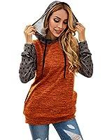 Hibluco Women's Long Sleeve Casual Tunic Patchwork Sweatshirt Tops with Pocket Orange