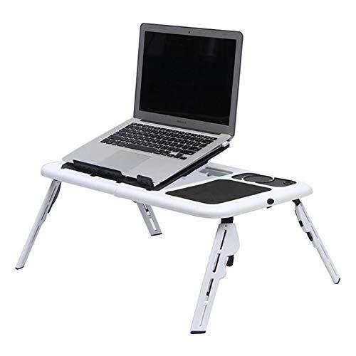Feicuan Tavolo da letto Tavolino Porta Laptop Regolabile Laptop Desk supporto per notebook da lettura lettura con ventole di raffreddamento USB fessure per tazze per Divano Letto Pavimento Ufficio