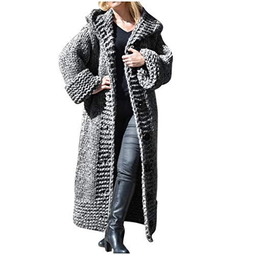 Pull Cardigan en Tricot Femme Long Manteau À Capuche Pullover en Maille Crochet Manches Longues Veste Ouvert Capuche Épais Gilet Chaud Chandail Elégante Casual Manteau Outwear pour Hiver