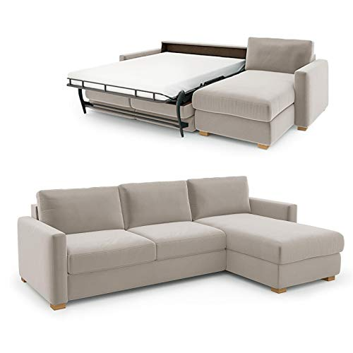 place to be Sofá cama Weekend de 140 cm, con chaise longue a la derecha, color crema