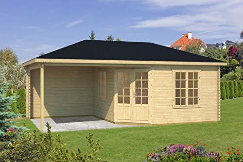 Tene Kaubandus 5-Eck Gartenhaus Sicilia 40 ISO Blockhaus 676x400cm 40mm Blockhaus Holzhaus