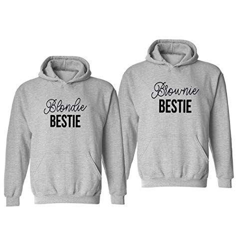 Best Friend Hoodie für Zwei BFF Pullover Sweatshirt für 2 Mädchen Schwarz Weiß Blondie Brownie Pulli 2 Stück