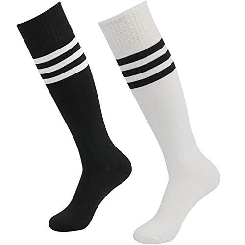 Getspor Athletic Fußball Socken Unisex Kniehoch Sport Baseball Running Party Kostüm Tube Socken Weiß und Schwarz 2 Paar