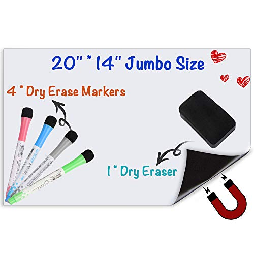 Magnetic Whiteboard for Refrigerator,20 X 14 inches Large Magnetic Dry Erase Board Sheet for Refrigerator with Eraser and 4 Markers,Fridge White Board & Reminder for Shopping List Schedule Planner