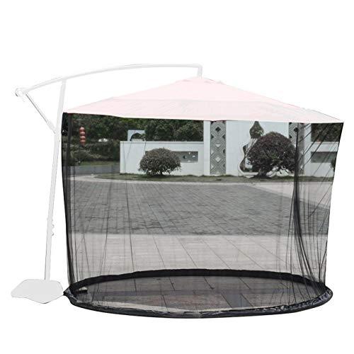 Hengjierun Patio al Aire Libre Paraguas mosquiteras Redes, Pantalla de mosquitera Cubierta de Paraguas de Patio Resistente a UV con Puerta con Cremallera Fácil instalación