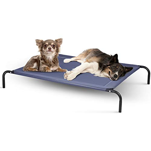 DREAMADE Hundeliege 40 kg Belastbar, Hundebett Haustierschlafplatz Haustierbett aus Metall, Hundesofa HundebettenHundematte für Indoor und Outdoor, Blau