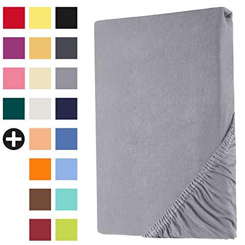 Heim24h Spannbettlaken Jersey Spannbetttuch Bettlaken mit Einer Steghöhe von 18 bis 30 cm 100% Baumwolle Hochwertig elastisch atmungsaktiv und weich Silber 180x200-200x200 cm