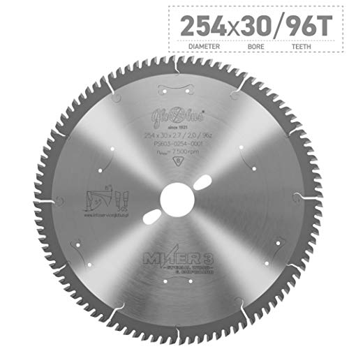 GLOBUS HM Saw Blade Miter 3 -Special Wood&Chipboard- 254x30mm / 96T HI-ATB (PS603-0254-0001) - for Soft & Hard Wood Fast Cutting - Compatible with DeWALT & MAKITA & Milwaukee & EINHELL Mitre Saw