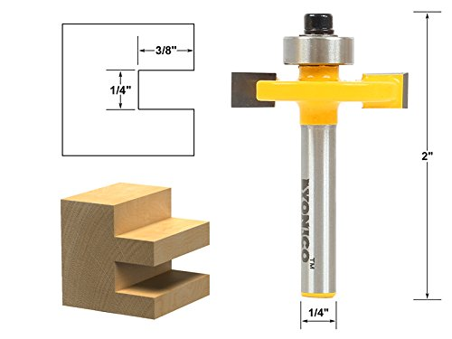 Yonico Slot Cutter Router Bit (1/4' Height - 3/8' Depth - 1/4' Shank)