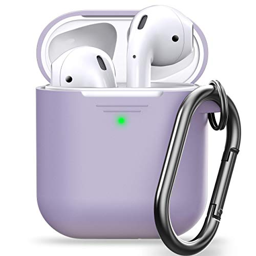 PodSkinz AirPod Case with Keychain Protective Silicone Cover Compatible with AirPods Case 1 & 2 (with Carabiner, Lavender)