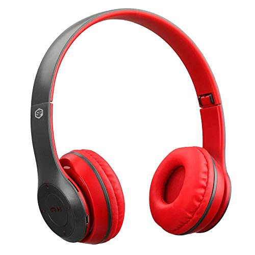 Sketchfab Wireless Headphones Bluetooth Stereo Headset Foldable Gaming Headphones with Microphone Support TF Card for IPad Mobile Phone Stereo Fm,Memory Card Support - Red