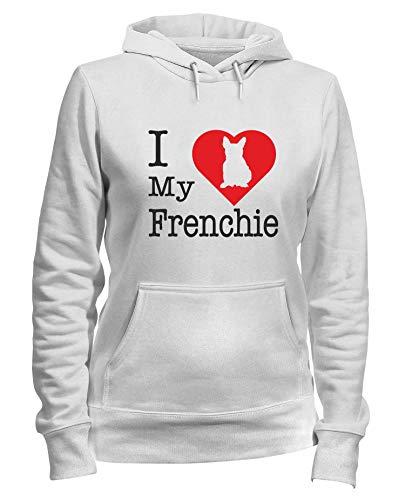 Sudadera con Capucha para Las Mujeras Blanca WTC1693 i Love my Frenchie