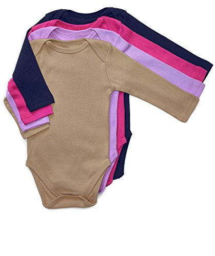 Leveret 4 Pack Long Sleeve Baby Girls Bodysuit 100% Cotton Solid 18-24 Months