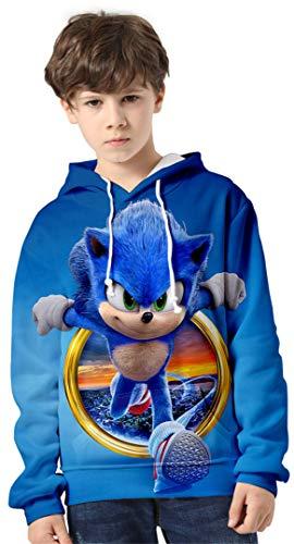 Silver Basic Niños Sonic The Hedgehog Traje de Sudadera con Capucha Sonic Adventure Teens Sudadera Impresa en 3D Sonic Poster Sudadera Jersey de Punto para Niños 140,755Círculo Sonic-2