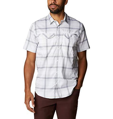 Columbia Men's Silver Ridge Lite Plaid Short Sleeve Shirt, Moisture Wicking, Sun Protection, White Large Plaid, Medium