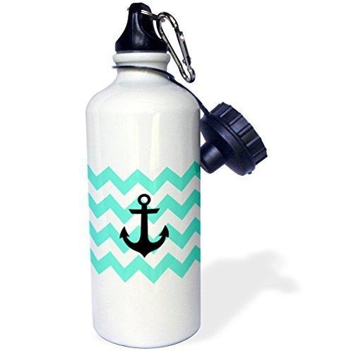 liandun Menthe et blanc motif chevron Noir avec Anchor Sport bouteille d'eau, 21oz, blanc