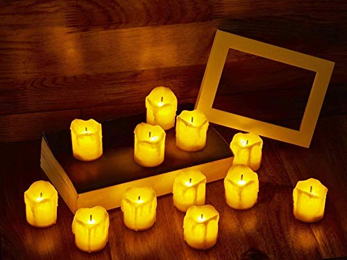 LED Flameless Votive Candles, Realistic Look of Melted Wax, Warm Amber Flickering Light - Battery Operated Candles for Wedding, Valentines Day, Christmas, Halloween Decorations (12-Pack)