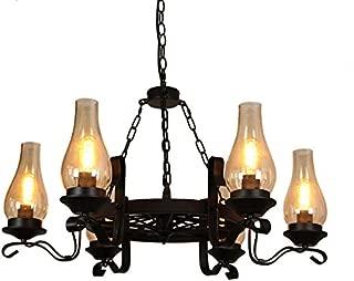 Vintage Antique Black Chandelier Metal Wagon Wheel Chimney Glass Shade 3-Light/6-light Chandelier Lighting Dinning Room (6-Light)
