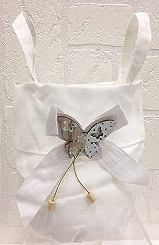 12 ück Tasche Gastgeschenk Bomboniere mit Schmetterling Weiß