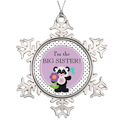 Personalized Xmas Trees Decorated Panda Bear Baby Shower Party Family Member Stained Glass Snowflake Ornaments