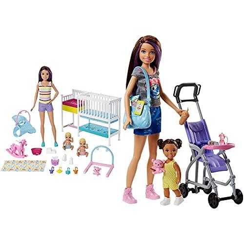 Mattel Barbie Skipper Hora De La Siesta, Muñeca Canguro con Bebés Y Accesorios, Regalo para Niñas Y Niños 3-9 Años ( Gfl38) + Muñeca Skipper Hermana De , Niñera De Paseo