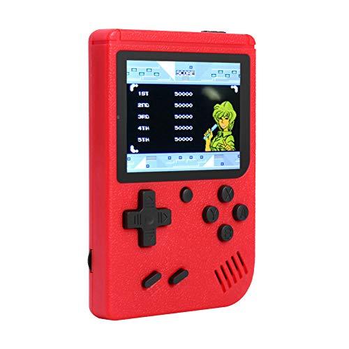 Mini Consola de TV-Output Videojuegos Portátil, 3 Pulgadas Consolas de Juegos de Mano con 400 Juegos Nostálgicos Clásicos Y 800Mah Batería Recargable, Regalos Cumpleaños para Hijos,Niños,Adultos(Rojo)