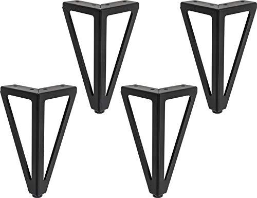 LONGZG Lot de 4 pieds de table en métal noir, Pieds de meubles bricolage, Pour Meuble TV,pied de table basse, armoire,canapé,lit et autres pieds de meubles - Avec vis.(15.5cm)