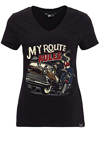 Queen Kerosin Damen T-Shirt V Ausschnitt Print Retro Stil My Route My Rules Slim Fit My Route My Rules