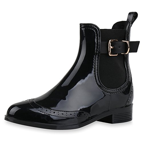 SCARPE VITA Damen Stiefeletten Chelsea Boots Lack Schnallen Gummistiefel Schuhe 160512 Schwarz Lack 39