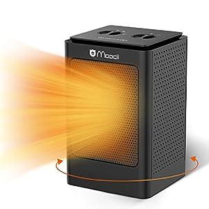 Moocii Calefactor Eléctrico PTC Calefactor de Aire Caliente con Ahorro de energía de Alta Tecnología y Oscilación Automática y 3 Configuraciones de Temperatura-Negro