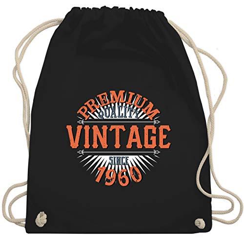 Shirtracer Geburtstag - 60. Geburtstag Vintage 1960 - Unisize - Schwarz - geschenk zum 60 geburtstag mann - WM110 - Turnbeutel und Stoffbeutel aus Baumwolle