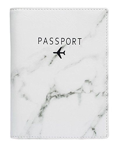 Leotruny Passport Holder Cover Waterproof Rfid Blocking Travel Wallet Case (White Marble)