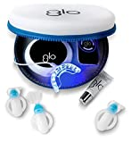 GLO Brilliant Deluxe Teeth Whitening Device Kit with Patented Blue LED Light & Heat Accelerator for Fast, Pain-Free, Long Lasting Results. Clinically Proven. Includes 10 GLO Gel Vials+ Lip Care, BLACK