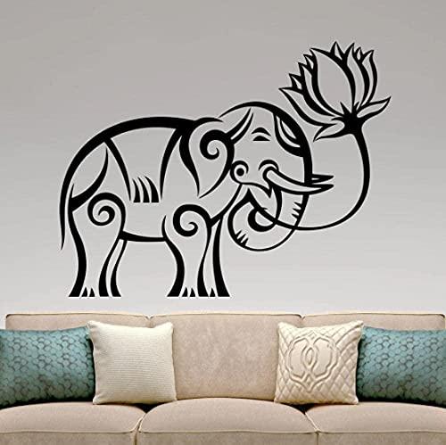 Vinilo para el hogar Art Deco pegatinas de pared estilo indio pegatinas de pared elefante loto patrón indio Yoga papel tapiz para habitación 42x33cm