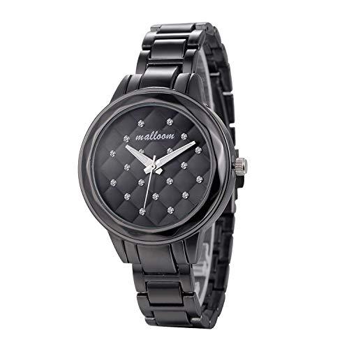 KONGWST Reloj De Cadena De Aleación De Diamante De Punto De Celosía Enrejado para Damas Europeas Y Americanas-Negro