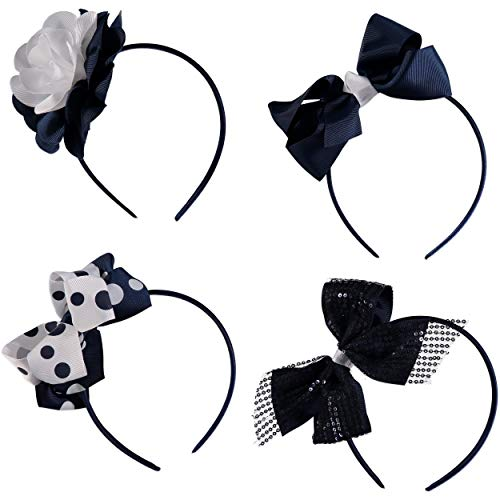 French Toast Kid's School Uniform Headbands, 4-pack, Navy Blue & White, One Size