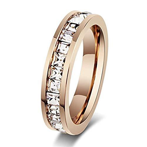 leeya NL20para mujer oro rosa de acero inoxidable Anillo de boda canal Set Zirconia cúbico compromiso Eternidad Banda para ella