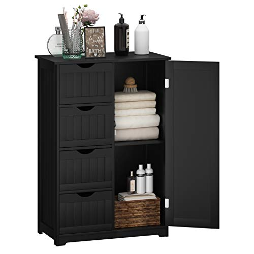Giantex Bathroom Floor Cabinet Wooden with 1 Door & 4 Drawer, Free Standing Wooden Entryway Cupboard Spacesaver Cabinet, Black