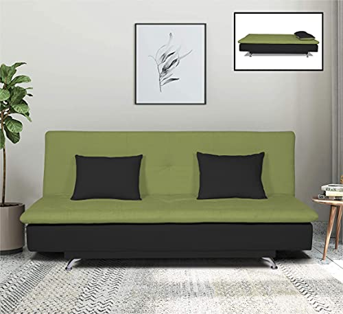 Adorn India Aspen Three Seater Green & Black Sofa Cum Bed