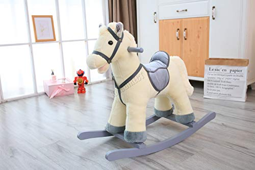 FoxHunter Children's Cream Rocking Horse | Rocking Chair Toy For Kids | With Gallop Sound | Ride On Pony Toy | Wooden Plush Rocker Gift | Kids Soft Toys | Toddler Rocker - 1-3Years