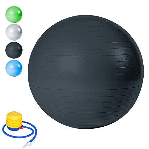 BMOT Gymnastikball inkl Ballpumpe, Fitnessball ,Yogaball Pilates-Ball Robuster,Balance Ball bis 300kg für Core BMOT Beckenübungen Sitzball Schwarz 65cm