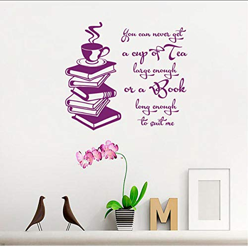 Muursticker mok thee groot genoeg boek lang genoeg boek lezen vinyl sticker studie wandfoto's wooncultuur 57X64 cm