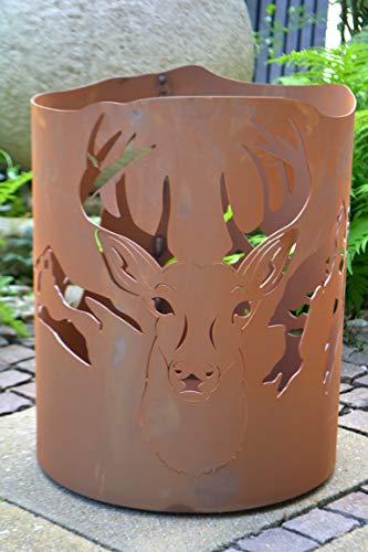 Feuerkorb, Feuerschale Garten Hirsch, sehr robust, stabil+ groß -mit 1 Dose Brenngel-Metall mit Edelrost- frostsicher